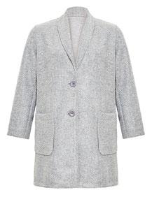 eleganter Plus Size Damenmantel grau in großen Größen mit Einfassungen in Lederimitat, schwarz