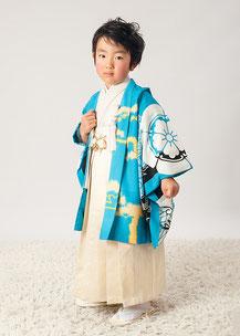 5-35 葵紋と龍 セルリアンブルーの着物