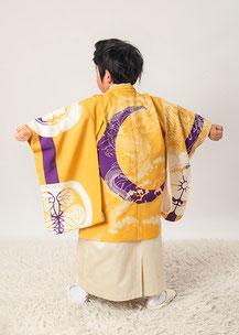5-37 葵紋と龍 山吹カラーの着物