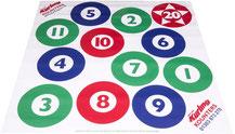 Cible de curling à acheter pas cher avec des cibles représentées par 3 couleurs et des numéros de 1 à 11. Cible de curling en vinyle avec numéros cibles pour jouer au curling avec des pierres des curling.