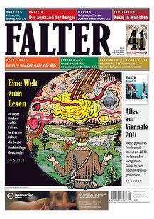 """Für den Wiener Falter entstand eine Coverillustration, die den Meteoriteneinschlag in Russland Anfang des 20. Jahrhunderts darstellt. Denn es ging in der Ausgabe um eine """"Welt zum Lesen"""" und neue, schöne Bücher, die vorgestellt wurden. © Falter, Wien"""