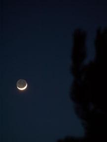 Vom Erdlicht erhellte Mondsichel