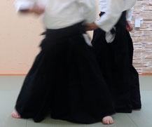 画像②進めた足を軸として受けの外に入り身転換。手足腰を軸として陰の魄氣に対側の手は昇氣で側頸へ。