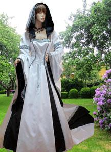 Mittelalter Brautkleid,Hochzeitsgewand,schwarz,weiß,Mittelalter-Fashion & Mittelalter-Design