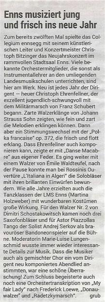 "Neujahrskonzert 2019, ""Volksblatt"""