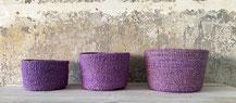 Runder Sisal Korb. Handgemacht und Fair aus Madagaskar. Pink
