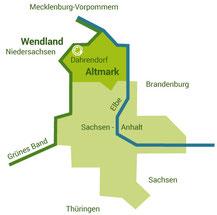 """Anreiseskizze """"Herberge am kleinen Weingarten Dahrendorf"""""""