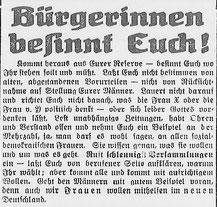 Göttinger Tageblatt, 24.11.1918: Aufruf zu politischer Selbständig. StA Göttingen