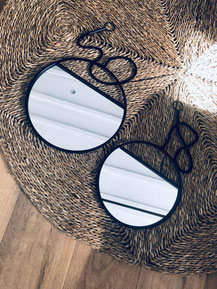 miroirs rond, miroir mur, miroir rond métal noir, miroir rond noir