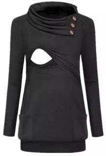 Link für Winterkollektion von ichstille.ch. Im Bild ist ein langärmliges Kleid mit Streifenmuster, Bauchkordel und Öffnungen zum stillen.