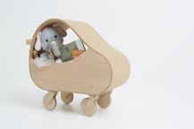 Trolley, coffre à jouets, en liège et hêtre.CCL ébéniste