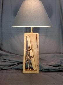 Lampe en chêne ajourée.CCL ébéniste.