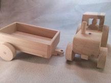 Jeux en bois, tracteur et remorque en hêtre.CCL ébéniste