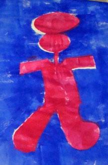 Siebdruckbild von einem Mensch, welcher rot abgebildet wurde mit etwas kugelförmigem auf dem Kopf. Vermutlich ist es ein Ball aber ganz sicher lässt sich das nicht sagen. Das ganze auf einem blauen Hintergrund.