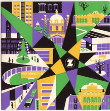 Weihnachtskarte des Kreditvereines/Zentralsparkasse der Gemeinde Wien. Grafik Heinz Traimer um 1960.