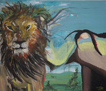 Lion King (Acryl auf Leinwand) gemalt in 2008