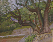 神社の大樹  油彩15号