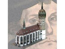 758,  Schlosskirche Wittenberg,  Kartonmodell im Maßstab 1:200