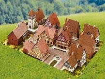 781,  Dorf mit Fachwerkhäusern,  Schreiber-Bogen Kartonmodell im Maßstab 1:160