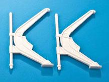 Davit  für Modellschiffe, weißer Kunststoff, Billing Boats, Krick