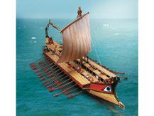 629,  Grieschische Bireme,  antikes Kriegsschiff,  Schreiber-Bogen Kartonmodell im Maßstab 1:100