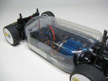 Glasklare Regenabdeckungen von Modellbau Kroh für das TAMIYA TT-01 Chassis