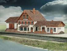 619, Bahnhof Friedbach ,  Schreiber-Bogen Kartonmodell im Maßstab 1:87