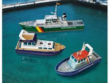 699,  3 kleine Schiffe,  Schreiber-Bogen Kartonmodell im Maßstab 1:100