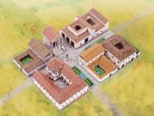 743,  Römisches Dorf,  Schreiber-Bogen Kartonmodell im Maßstab 1:160