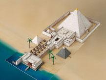 741,  Pyramide mit Taltempel,  Schreiber-Bogen Kartonmodell im Maßstab 1:400