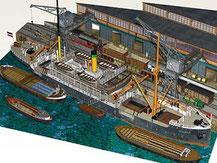 3476,  Hamburger Hafen-Diorama,  Schreiber-Bogen Kartonmodell im Maßstab 1:250