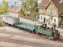 715,Württembergische T3  Dampflok mit zwei Wagen  ,  Schreiber-Bogen Kartonmodell im Maßstab 1:45