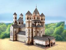 578,  Abteikirche Maria Laach,  Kartonmodell im Maßstab 1:300