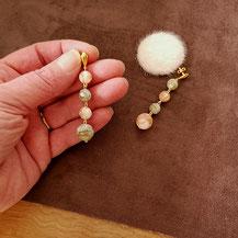 Clous d'oreille perles onyx