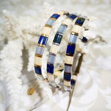 Bracelet perles tila plaqué or/camaïeu bleu de Aux-Dames-de-Jadis