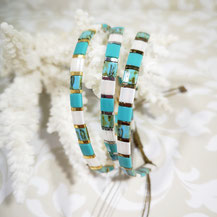 Bracelet perles tila plaqué or/camaïeu turquoise de Aux-Dames-de-Jadis