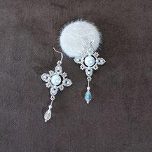 Boucles d'oreillepour la mariée, avec perles blanches et cristal
