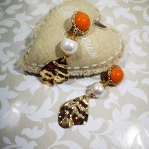 Boucles d'oreille clips orange Majorque sur or