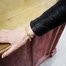 Bracelet gourmette or et argent