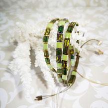 Bracelet perles tila plaqué or/camaïeu vert de Aux-Dames-de-Jadis