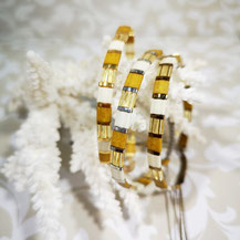 Bracelet perles tila plaqué or/camaïeu moutarde de Aux-Dames-de-Jadis