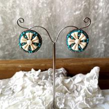 Boucles d'oreille clips turquoise et ivoire