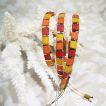 Bracelet perles tila plaqué or/camaïeu terracotta de Aux-Dames-de-Jadis