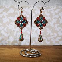Boucles pendantes avec perle en cuivre cloisonné
