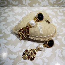 Boucles d'oreille clips onyx Majorque sur or
