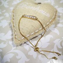 Bracelet barrette strass doré