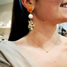 Clips d'oreille couleur orange