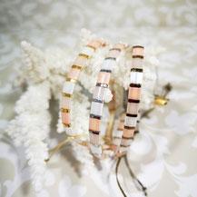 Bracelet perles tila plaqué or/camaïeu pêche de Aux-Dames-de-Jadis