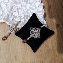 Boucles d'oreille en dentelle de perles
