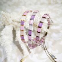 Bracelet perles tila plaqué or/camaïeu rose de Aux-Dames-de-Jadis